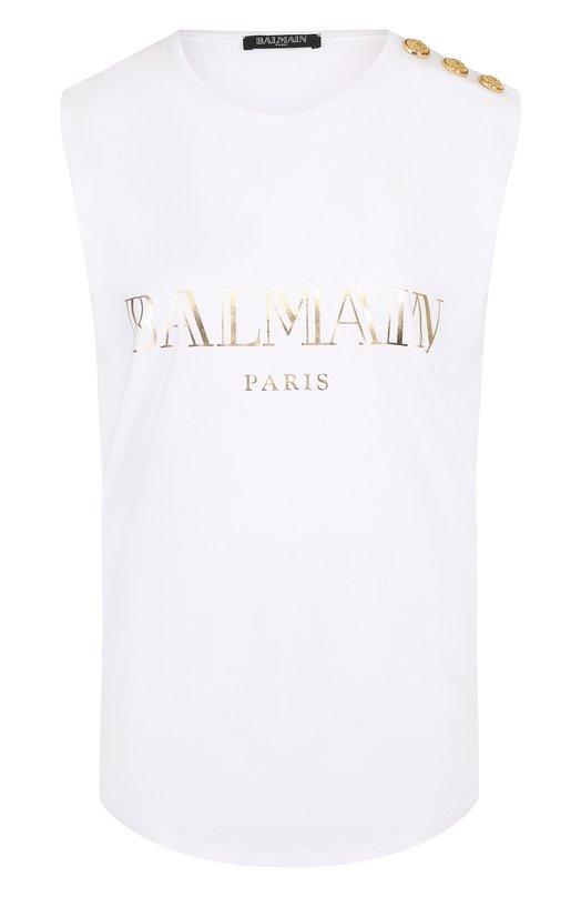 Купить Хлопковый топ с круглым вырезом и логотипом бренда Balmain, 138105/326I, Португалия, Белый, Хлопок: 100%;