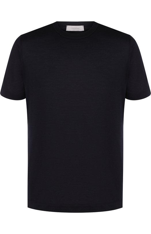 Купить Шелковая футболка с круглым вырезом Cortigiani, 416650/0000, Италия, Темно-синий, Шелк: 100%;