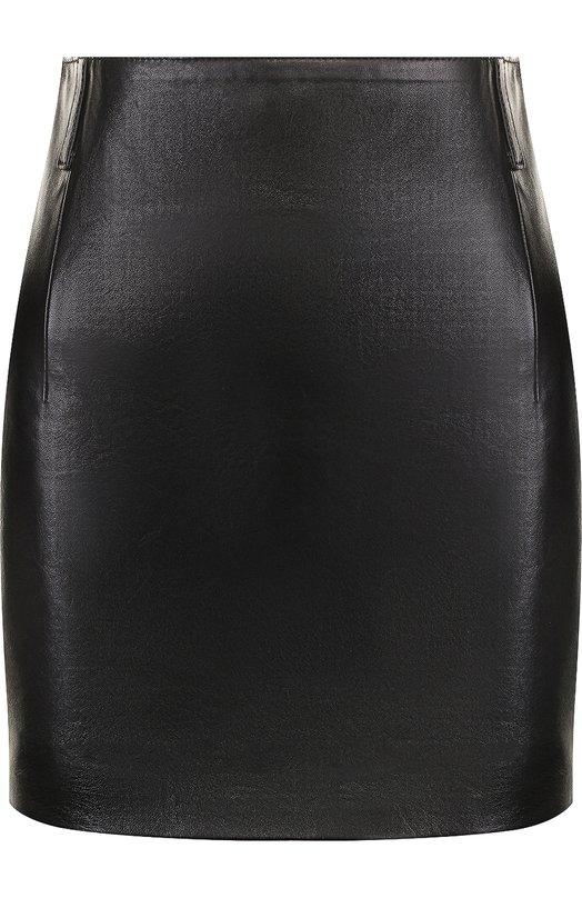 Купить Однотонная кожаная мини-юбка Saint Laurent, 511172/YC2KQ, Италия, Черный, Подкладка-шелк: 100%; Кожа натуральная: 100%;