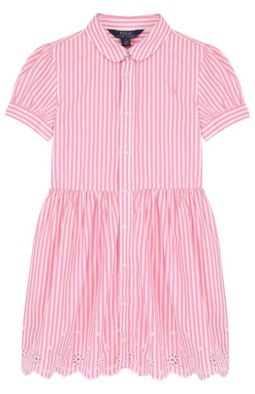 Купить Хлопковое платье с вышивкой и фестонами Polo Ralph Lauren, 312688409, Индия, Розовый, Хлопок: 100%;