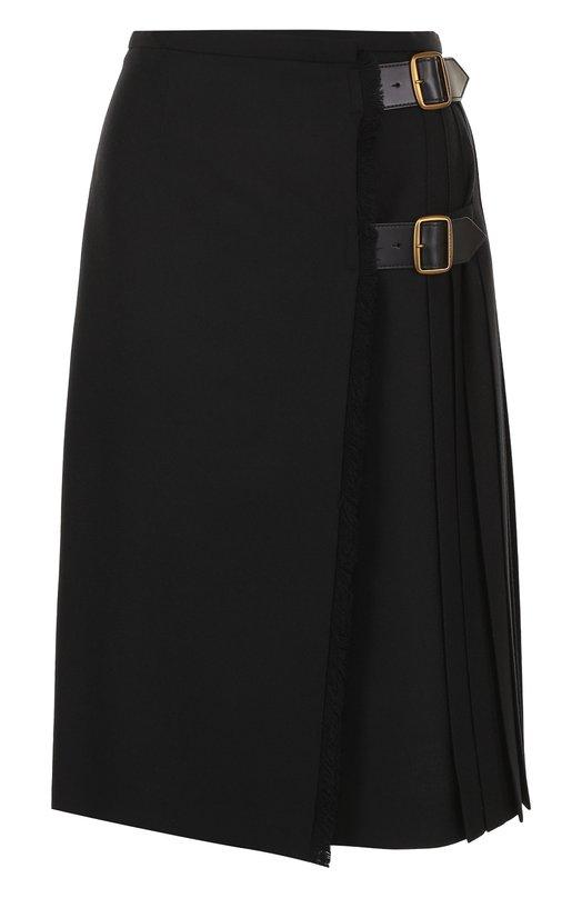 Купить Однотонная шерстяная юбка-миди Burberry, 4063258, Италия, Черный, Подкладка-хлопок: 58%; Подкладка-вискоза: 42%; Шерсть: 100%;