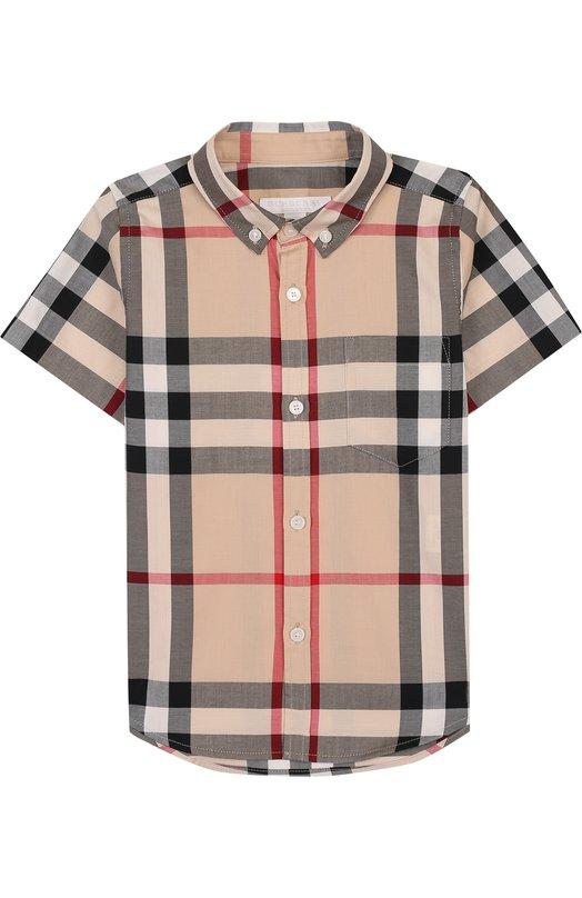 Купить Хлопковая рубашка с принтом и воротником button down Burberry, 3830128, Таиланд, Разноцветный, Хлопок: 100%;