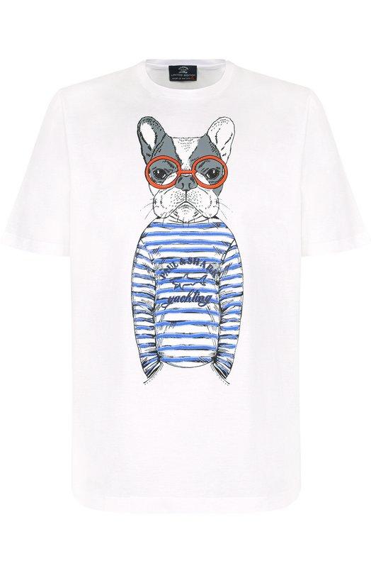 Купить Хлопковая футболка с принтом Paul&Shark, E18P1164, Италия, Белый, Хлопок: 100%;