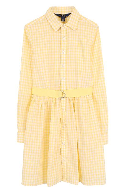 Купить Хлопковое платье-рубашка с поясом Polo Ralph Lauren, 313688402, Индонезия, Желтый, Хлопок: 100%;