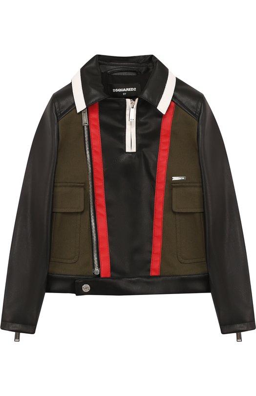 Купить Текстильная куртка с косой молнией и контрастной отделкой Dsquared2, DQ02MP-D00K7, Болгария, Черный, Хлопок: 97%; Подкладка-вискоза: 60%; Полиуретан: 50%; Полиэстер: 50%; Подкладка-полиэстер: 40%; Эластан: 3%;