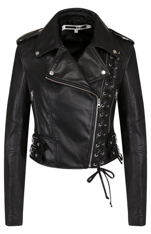 Купить Приталенная кожаная куртка с косой молнией MCQ, 456386/RKL04, Индия, Черный, Кожа натуральная: 100%; Подкладка-полиэстер: 100%;