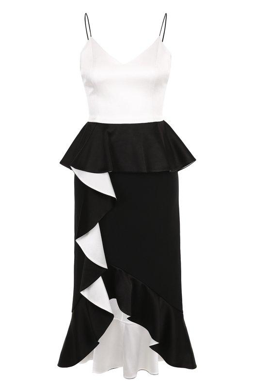 Купить Приталенное платье асимметричного кроя с оборками Alice + Olivia, CC802205517, Китай, Черно-белый, Подкладка-полиэстер: 94%; Триацетат: 75%; Ацетат: 60%; Подкладка-эластан: 6%; Полиэстер: 40%;