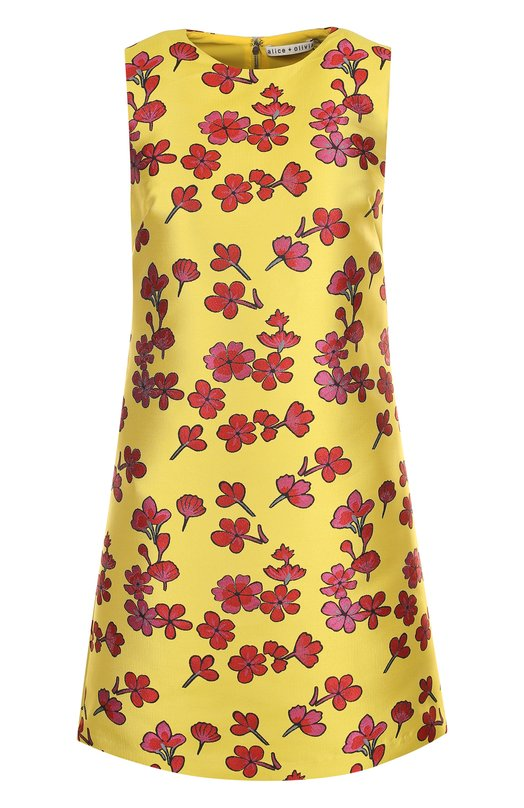 Купить Мини-платье А-силуэта с цветочным рисунком Alice + Olivia, CC802Q31510, Вьетнам, Желтый, Подкладка-полиэстер: 94%; Подкладка-эластан: 6%; Полиэстер: 100%;