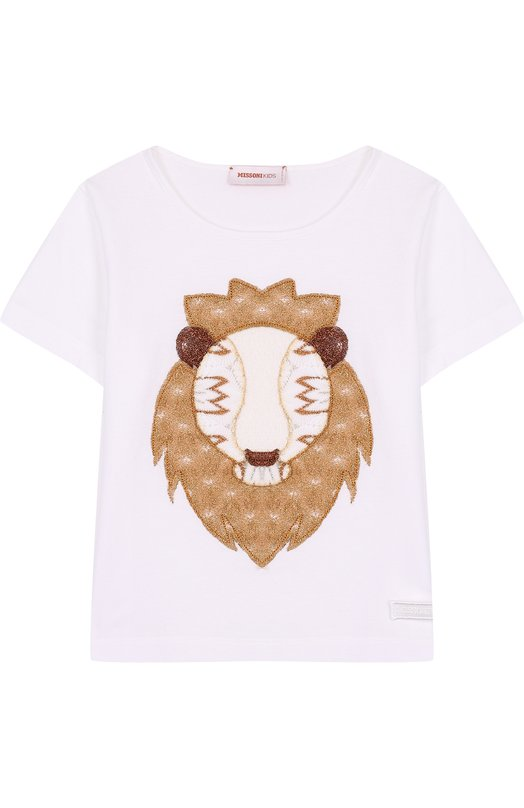 Купить Хлопковая футболка с аппликацией Missoni, E18.BA.219505, Италия, Белый, Отделка-полиэстер: 36%; Отделка-полиамид: 30%; Отделка-купра: 3%; Отделка-хлопок: 16%; Отделка-вискоза: 15%; Хлопок: 100%;