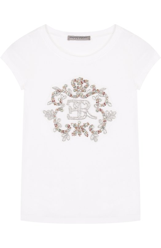 Купить Хлопковая футболка с вышивкой бисером и кристаллами Ermanno Scervino, 42 I TS18/4-8, Италия, Белый, Хлопок: 93%; Эластан: 7%;