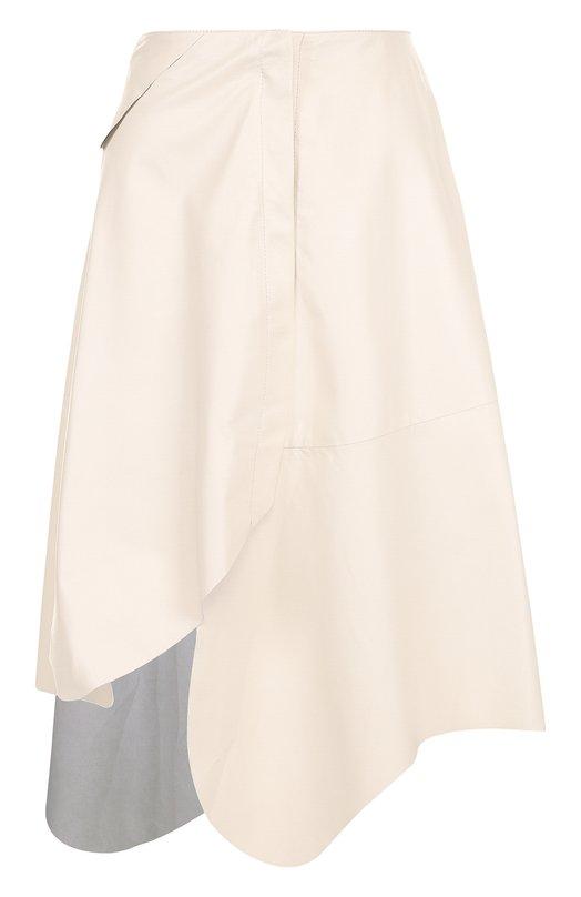 Купить Кожаная юбка-миди асимметричного кроя DROMe, DPD1488/D400N, Италия, Бежевый, Кожа натуральная: 100%; Подкладка-купра: 100%;