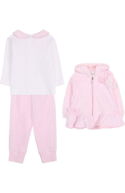 Купить Хлопковый комплект из брюк с лонгсливом и кардиганом Aletta, RB88378/1M-18M, Италия, Розовый, Хлопок: 100%;