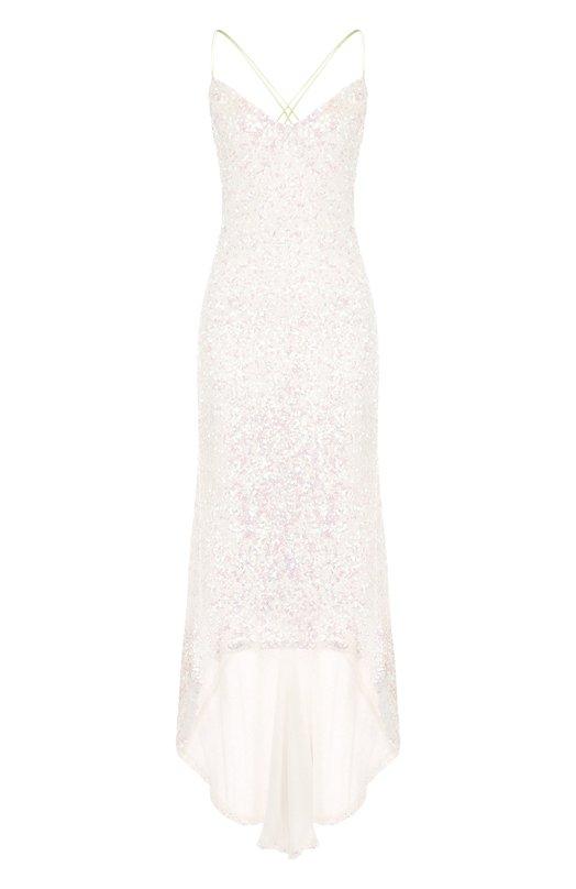 Купить Шелковое платье-миди асимметричного кроя с пайетками Walk of Shame, DE001-PS18, Россия, Белый, Шелк: 100%;