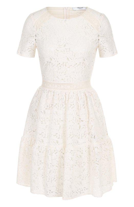 Купить Приталенное кружевное мини-платье Blugirl, 5409, Италия, Бежевый, Хлопок: 50%; Полиамид: 27%; Полиэстер: 23%; Подкладка-полиэстер: 100%;