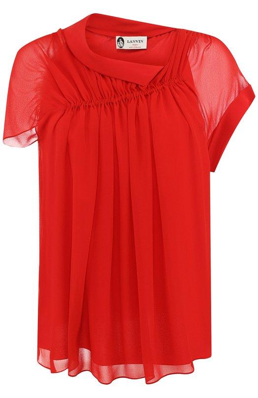 Купить Шелковая блуза с драпировкой Lanvin, RW-T0605T-3744-P18, Румыния, Красный, Шелк: 100%; Подкладка-шелк: 100%;