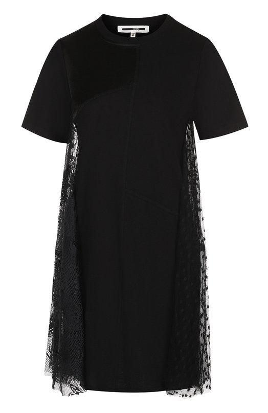 Купить Приталенное мини-платье с коротким рукавом MCQ, 496337/RKC08, Китай, Черный, Полиамид: 100%; Полиэстер: 100%;