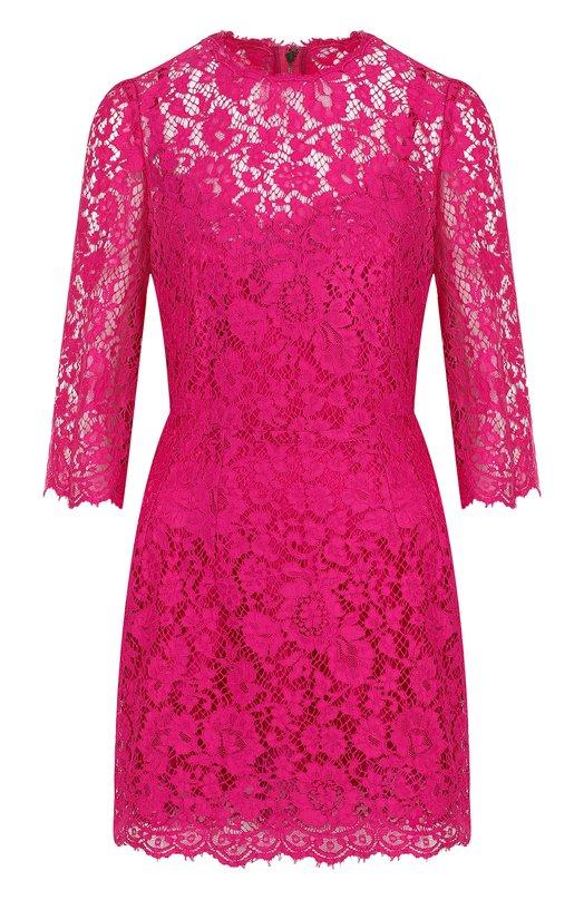 Купить Приталенное кружевное мини-платье Dolce & Gabbana, F6VB5Z/HLMII, Италия, Фуксия, Полиамид: 9%; Шелк: 78%; Хлопок: 50%; Вискоза: 41%; Эластан: 4%;