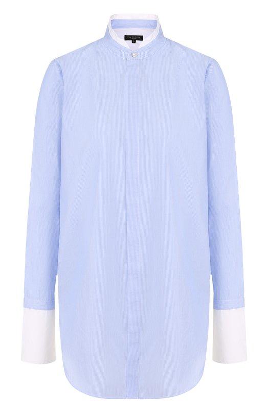 Купить Хлопковая блуза свободного кроя с воротником-стойкой Rag&Bone, W282A82D1, США, Голубой, Хлопок: 100%;