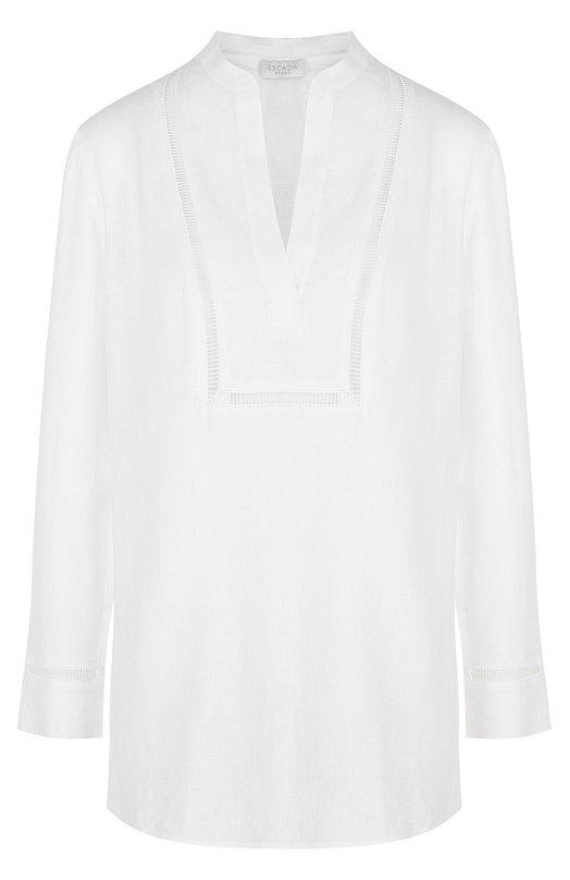 Купить Однотонная льняная блуза свободного кроя Escada Sport, 5026564, Китай, Белый, Лен: 100%;