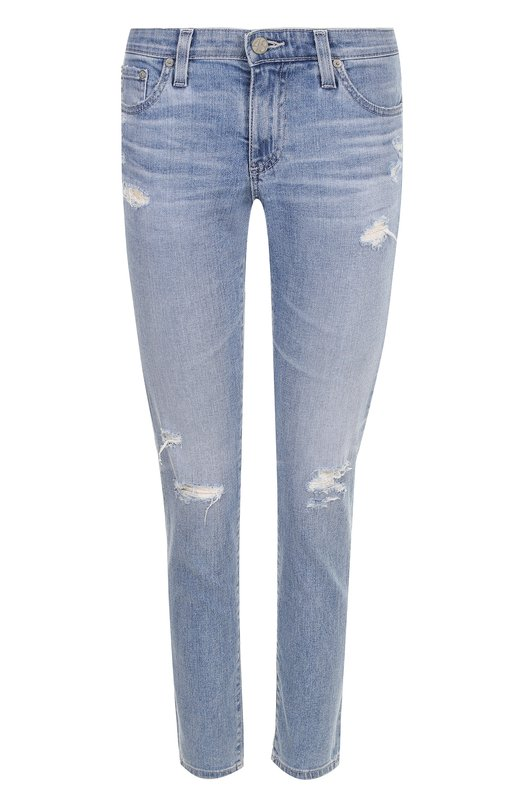Купить Укороченные джинсы-скинни с потертостями Ag, EMP1389/20Y-0CD, Мексика, Голубой, Хлопок: 98%; Полиуретан: 2%;