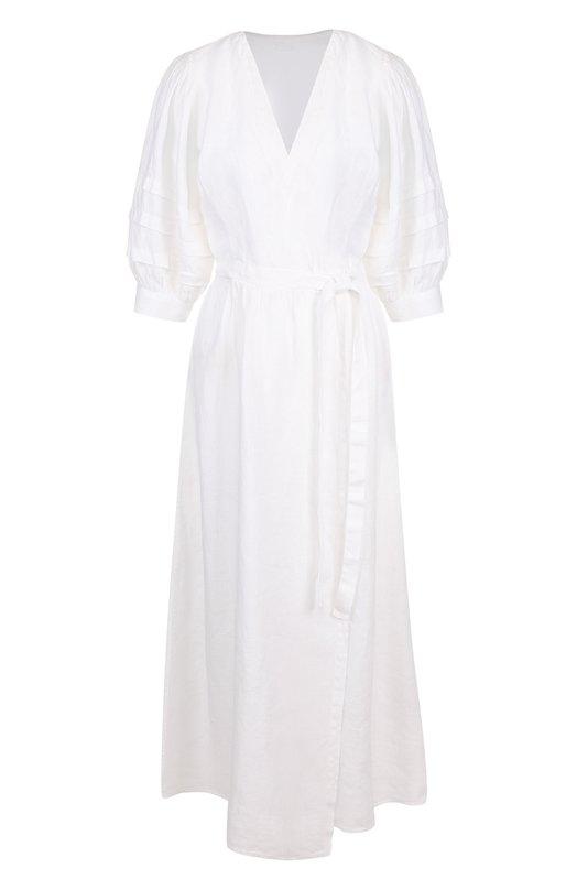 Купить Однотонное льняное платье с коротким рукавом 120% Lino, N1W4812/0115/000, Болгария, Белый, Лен: 100%;