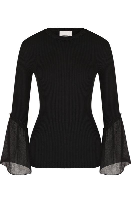 Купить Приталенный пуловер из смеси шелка и хлопка 3.1 Phillip Lim, S181-7011RCC, Китай, Черный, Шелк: 70%; Хлопок: 30%;