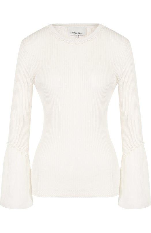 Купить Приталенный пуловер из смеси шелка и хлопка 3.1 Phillip Lim, S181-7011RCC, Китай, Белый, Шелк: 70%; Хлопок: 30%;
