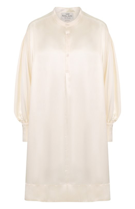 Купить Однотонное шелковое платье свободного кроя Forte_forte, 5550, Италия, Бежевый, Шелк: 100%;