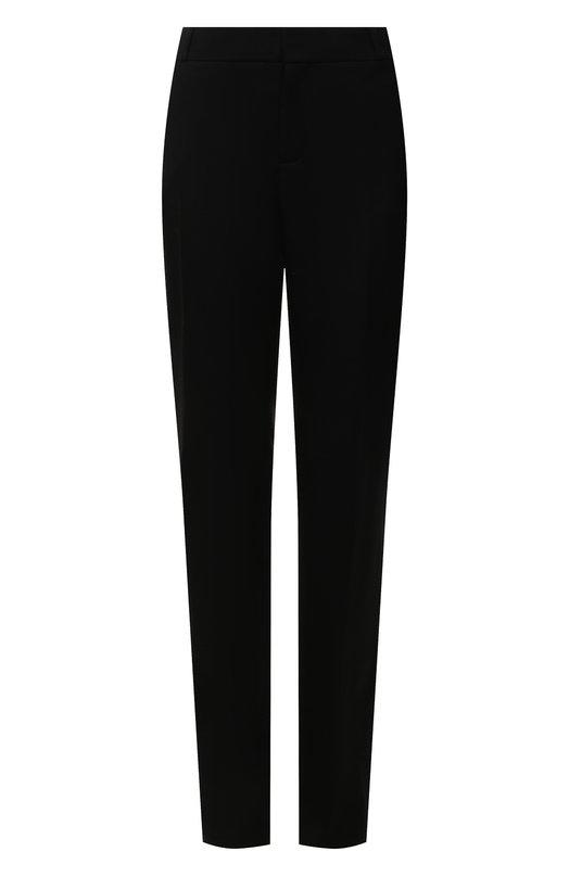 Купить Однотонные шерстяные брюки прямого кроя Saint Laurent, 512293/Y239W, Италия, Черный, Шерсть: 100%;