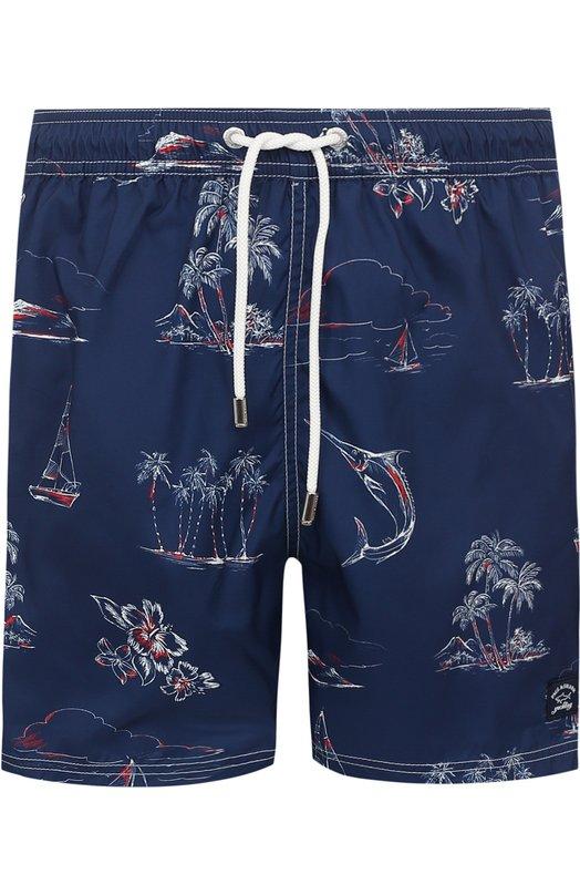 Купить Плавки-шорты с принтом Paul&Shark, E18P5038, Италия, Темно-синий, Полиэстер: 100%;