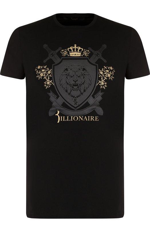 Купить Хлопковая футболка с принтом Billionaire, B18C MTK1733 BTE014N, Италия, Черный, Хлопок: 100%;