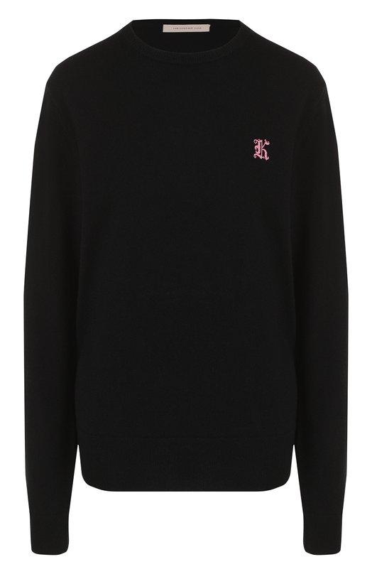 Купить Однотонный кашемировый пуловер с круглым вырезом Christopher Kane, 481840/UGK01, Великобритания, Черный, Кашемир: 100%;