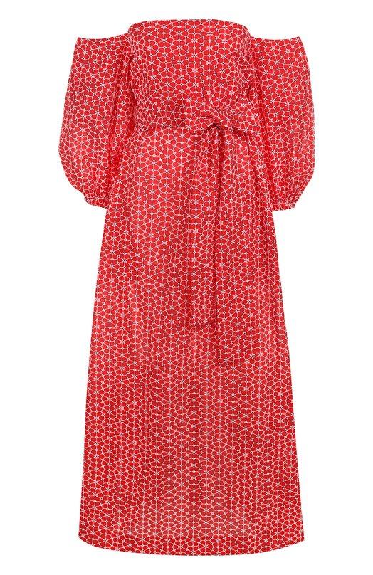 Хлопковое платье-миди с открытыми плечами и принтом Lisa Marie Fernandez