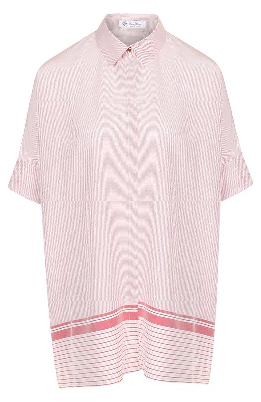 Купить Шелковая блуза свободного кроя с коротким рукавом Loro Piana, FAI1398, Италия, Розовый, Шелк: 100%;