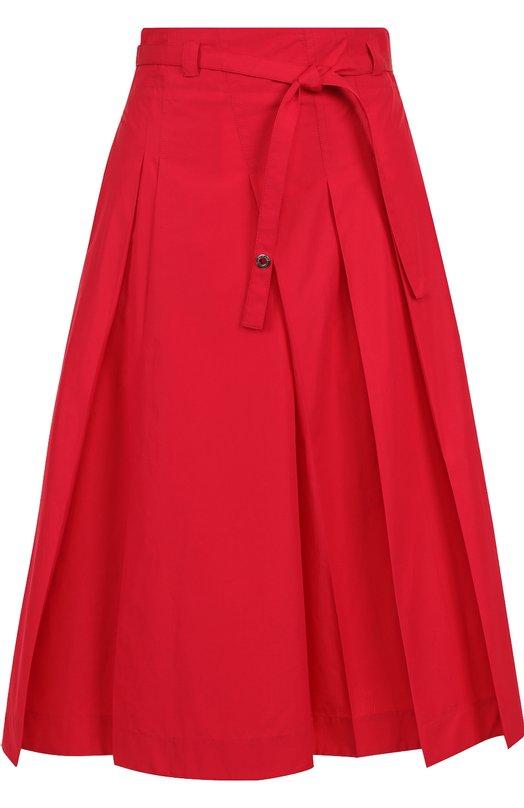 Купить Однотонная хлопковая юбка-миди с поясом Loro Piana, FAI1052, Италия, Красный, Хлопок: 100%;