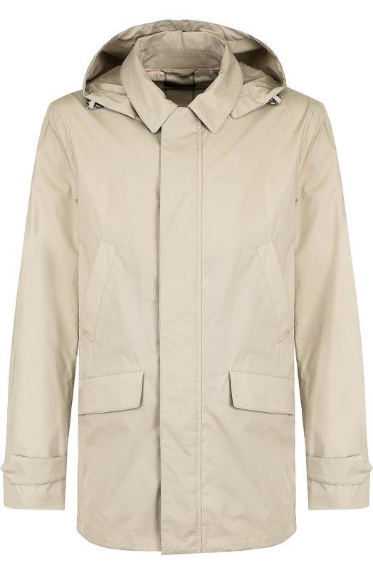 Купить Хлопковая куртка Montville на молнии с капюшоном Loro Piana, FAI0638, Италия, Бежевый, Хлопок: 95%; Подкладка-полиэстер: 50%; Подкладка-эластан: 5%; Эластан: 5%; Подкладка-полиамид: 45%; Отделка кожа натуральная: 100%;