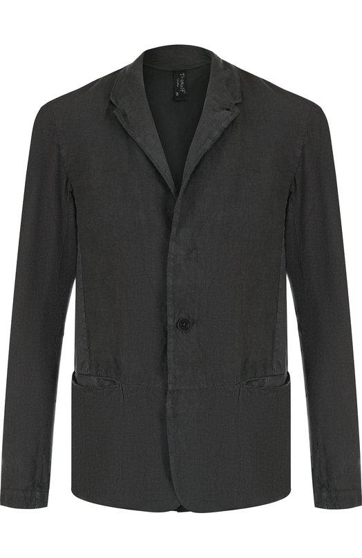 Купить Однобортный пиджак из смеси льна и хлопка Transit, CFUTRED133, Италия, Темно-серый, Лен: 66%; Хлопок: 31%; Эластан: 3%;