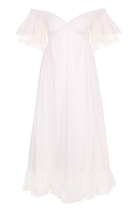 Купить Хлопковое платье-миди с открытыми плечами MCQ, 492560/RKC07, Индия, Белый, Хлопок: 100%;