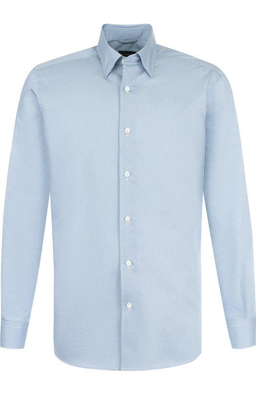Купить Хлопковая рубашка с воротником кент Ermenegildo Zegna, UPX21/SRH1, Румыния, Голубой, Хлопок: 100%;