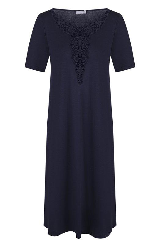 Купить Однотонная хлопковая сорочка свободного кроя Hanro, 076361, Венгрия, Темно-синий, Хлопок: 100%; Отделка-полиэстер: 100%;