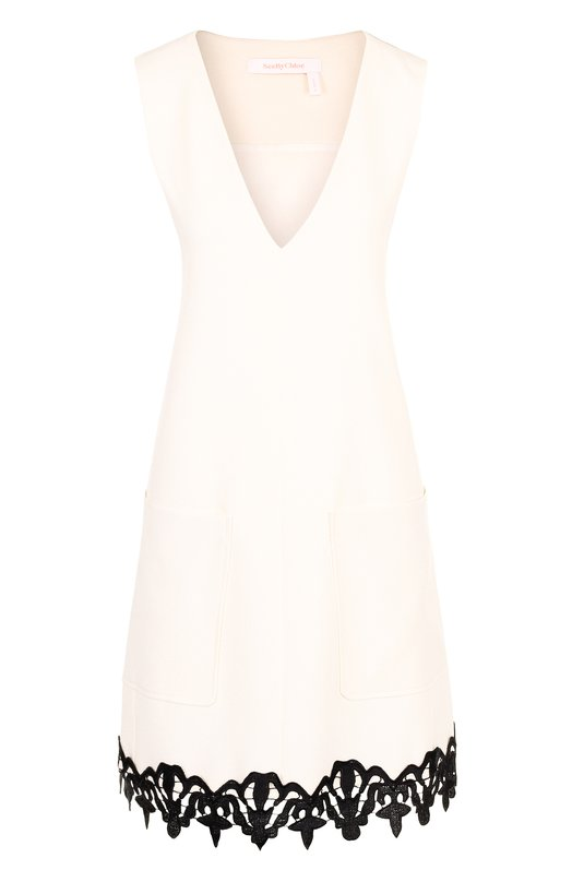 Купить Мини-платье с V-образным вырезом и контрастной отделкой See by Chloé, CHS18SR029012, Португалия, Белый, Полиэстер: 98%; Эластан: 2%; Подкладка-вискоза: 100%;