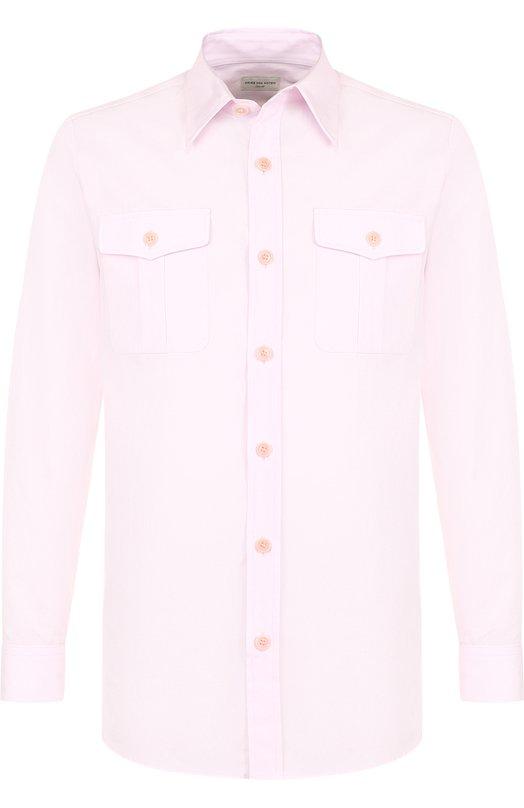 Купить Хлопковая рубашка свободного кроя Dries Van Noten, 181-20742-5240, Венгрия, Светло-розовый, Хлопок: 100%;