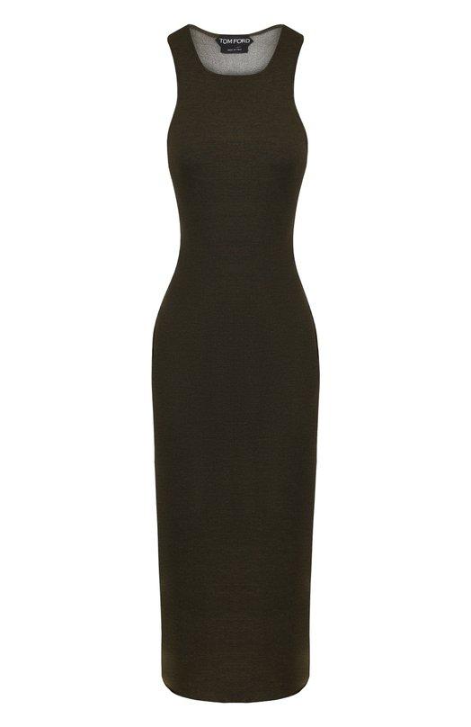 Купить Платье-футляр из смеси кашемира и шелка Tom Ford, ACK169-YAX154, Италия, Хаки, Кашемир: 60%; Шелк: 40%;