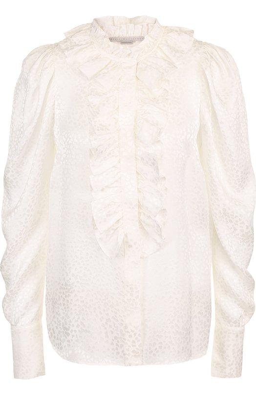 Купить Однотонная шелковая блуза с оборками Stella McCartney, 511530/SKA63, Венгрия, Белый, Шелк: 100%;