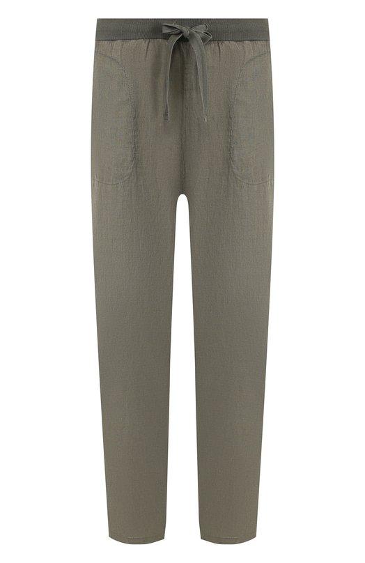 Купить Льняные укороченные брюки с эластичным поясом Deha, B74337, Тунис, Хаки, Лен: 100%;