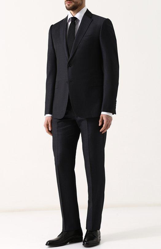 Купить Шерстяной костюм с пиджаком на двух пуговицах Emporio Armani, W1VMEB/W1657, Болгария, Темно-синий, Подкладка-вискоза: 50%; Подкладка-ацетат: 50%; Шерсть: 100%;