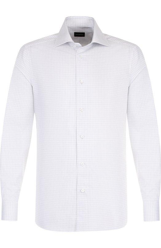 Хлопковая сорочка с воротником кент Ermenegildo Zegna, 301563/9MS0BR, Румыния, Серый, Хлопок: 100%;  - купить