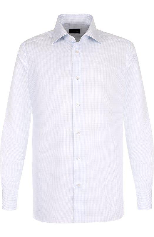 Купить Хлопковая сорочка с воротником кент Ermenegildo Zegna, 301566/9MS0BR, Румыния, Голубой, Хлопок: 100%;