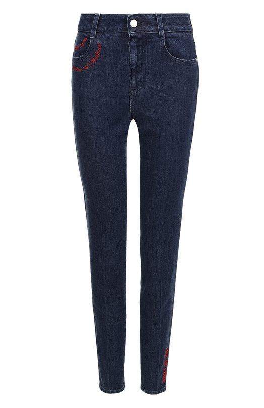 Купить Укороченные джинсы-скинни с потертостями Stella McCartney, 391883/SKH38, Италия, Синий, Хлопок: 98%; Эластан: 2%;