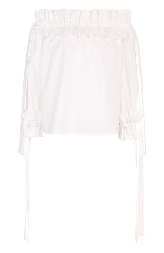 Купить Хлопковая блуза с открытыми плечами и оборками sara roka, NIKITA/SS18-07, Италия, Белый, Хлопок: 100%;